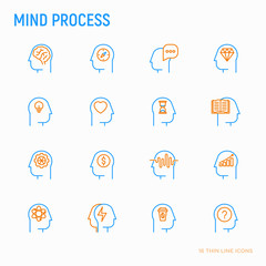 Mind process thin line icons set: intelligence,  passion, conflict, innovation, time management, exploration, education, logical thinking. Modern vector illustration.