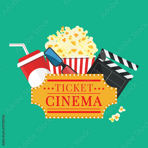 """Movie Night Bouquet With Drinks: """"Vector Illustration. Popcorn And Drink. Film Strip Border"""