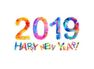Happy New Year 2019. Congratulation card.