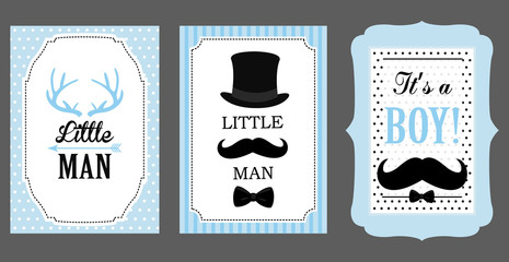 Little man birthday party. Baby shower party. Vector poster: bow tie, hat and mustache design elements. Black, blue, white - classic pattern. Set of boy's invitation (badge, sticker, frame) templates.