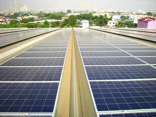 Large Solar PV Rooftop System Suspension Bridge background