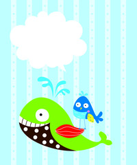 cute whale and bird message card vector