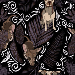 Seamless pattern with cute dog.