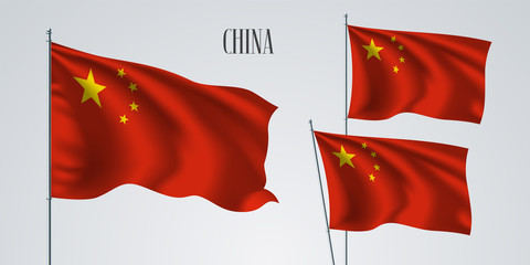 China waving flag set of vector illustration