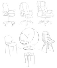 Black and white vector illustration of office chairs. An armchair for visitors. Linear Art. Stylized chairs.