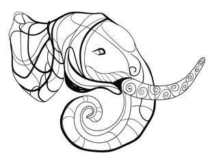 Vector illustration of a stylized elephant. An elephant with Indian ornaments. Inhabitant of safari. An animal with patterns. Black and white linear art. Zoo. Drawing for children. Tattoo.