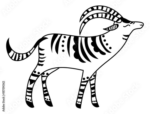 Vector Illustration Of A Stylized Antelope Gazelle With Indian