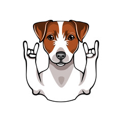 Illustration of Jack Russell Terrier dog with horns. Vector illustration flat style.