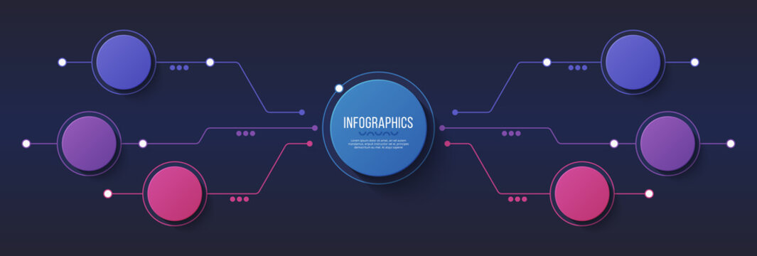 Vector 6 options infographic design, structure chart, presentation template.