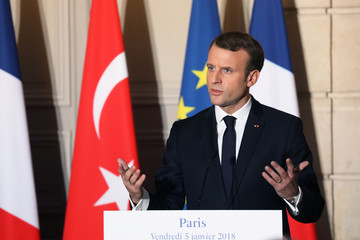 French President Emmanuel Macron speaks during a joint press conference with the Turkish president at the Elysee Palace in Paris