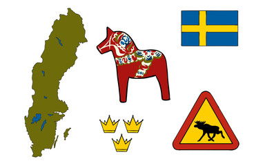 Symbols of Sweden icons, vector