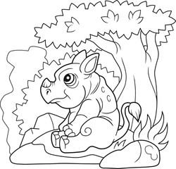 cartoon cute rhinoceros sitting near a tree