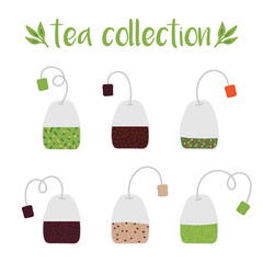 Set, collection of cute vector hand drawn tea bags isolated on white background.