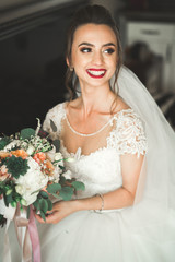 Beautiful bride wearing fashion wedding dress with feathers with luxury delight make-up and hairstyle, studio indoor photo shoot