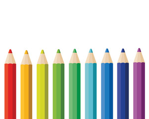 Set colored pencils isolated on white background. Vector stock.