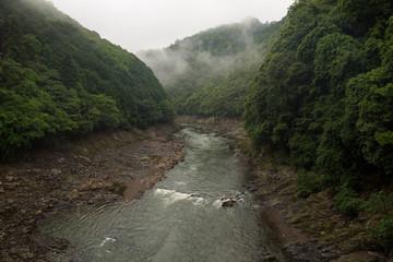 Beautiful scenery of the Katsura river along the tracks of the Sagano Scenic Railway, Kyoto, Japan