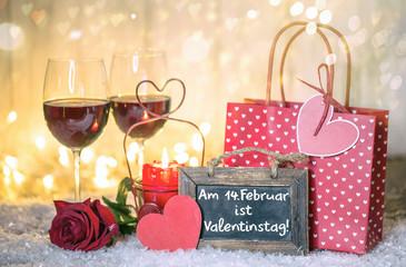Wall Mural - Valentinstag Karte Dinner Wein