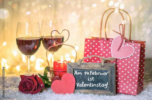 Valentinstag Karte Dinner Wein