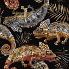 Embroidery color vintage chameleons seamless pattern. Classical embroidery lizard chameleons and tropical leaves of palm tree. Template for clothes, textiles, t-shirt design