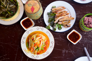Various of Thai spicy food on rustic background