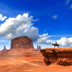 Papiers peints Bleu fonce Monument Valley with Horseback rider / Utah - USA
