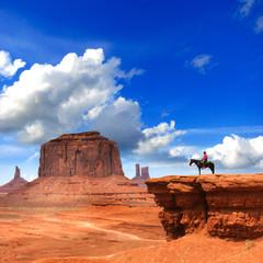 Photo sur Aluminium Bleu fonce Monument Valley with Horseback rider / Utah - USA