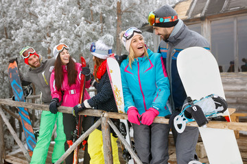 Happy skiers together