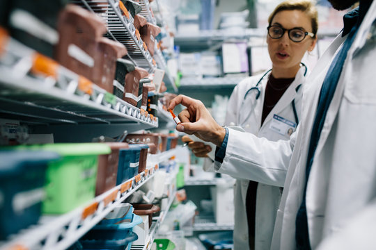 Hospital staff stocktaking in pharmacy