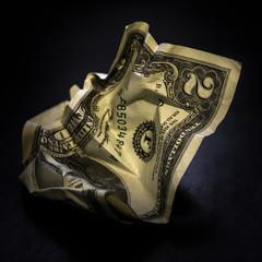 Crumpled american two dollar bill