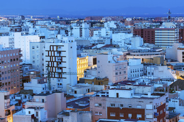 Spain, Andalusia, Almeria, Residential district at dusk