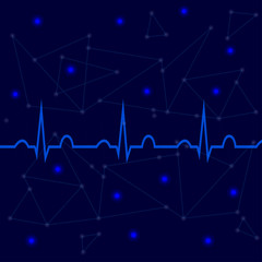 ECG on blue background with lines, dots 2