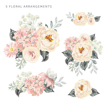 Set of the floral arrangements. Pale pink peonies and hydrangea with gray leaves. Watercolor vector romantic garden flowers.