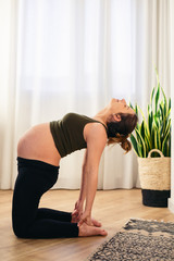 Beautiful pregnant woman doing yoga at home.