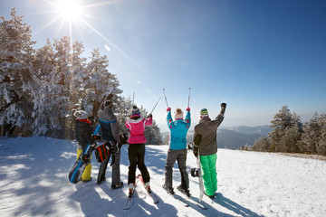 Group of skiers on skiing in mountain, back view