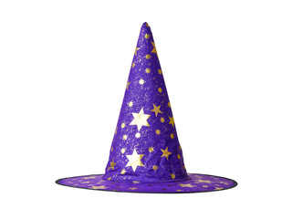 Witch or Wizard hat decorated with stars isolated