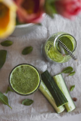 Delicious and Healthy Smoothie from Cucumber with Mint