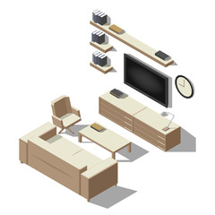 Isometric interior, room of a house, cutaway icon. Business lounge. Couch, table, tv, books. Vector illustration