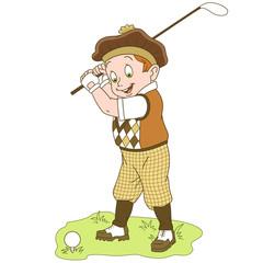 Kids Leisure Activities. Cartoon Golfer, golf player. Design for children's coloring book.