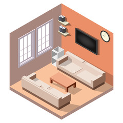 Isometric interior, room of a house, cutaway icon. Business lounge. Couch, table, tv, windows, books. Vector illustration