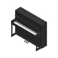Black grand piano isometric style vector illustration.