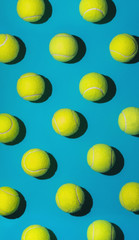Tennis balls arranged.