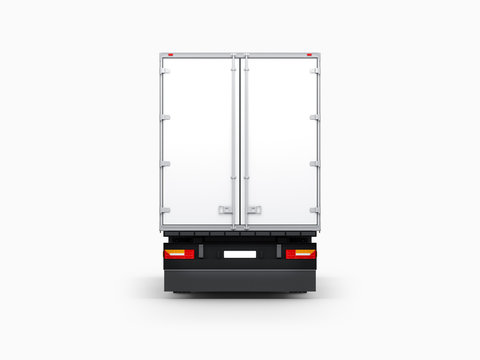 Semi Trailer Mockup isolated on gray, Big Truck Rear side, 3d rendering