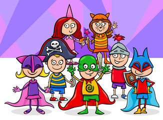 kids group at mask ball cartoon illustration