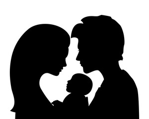 Family silhouettes: mother and father holding newborn baby