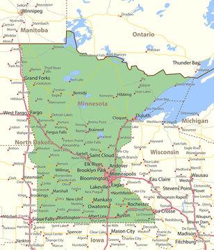 Minnesota-US-States-VectorMap-A