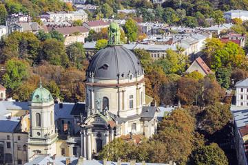 Autumn cityscape with Dominican church, Lviv, Ukraine