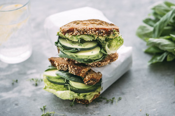 Food: Green vegetable sandwiches, vegan