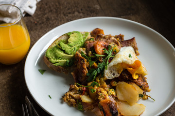 big cooked breakfast, bubble and squeak with fried egg and avo o