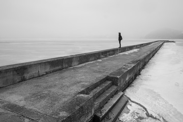 Person Standing Alone On The Dock In The Wintertime