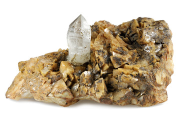 rock crystal on dolomite from Styria/ Austria isolated on white background